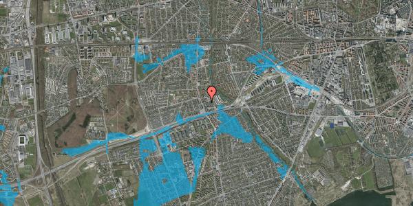 Oversvømmelsesrisiko fra vandløb på Baunebakkevej 135, 2650 Hvidovre
