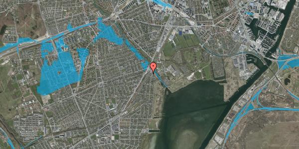 Oversvømmelsesrisiko fra vandløb på Beringgårdsvej 1B, 2650 Hvidovre