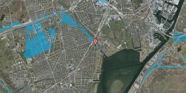 Oversvømmelsesrisiko fra vandløb på Beringgårdsvej 1D, 2650 Hvidovre
