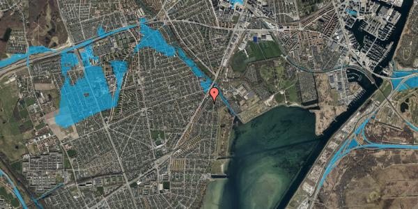 Oversvømmelsesrisiko fra vandløb på Beringgårdsvej 9, 2650 Hvidovre