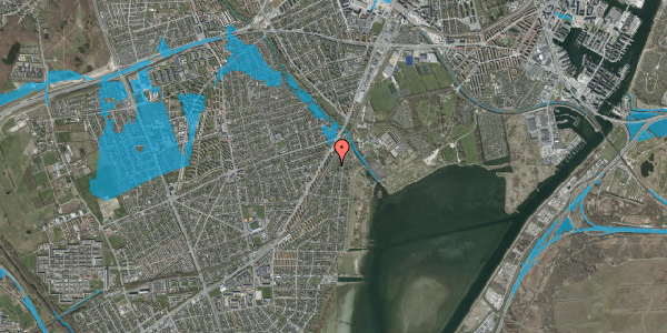 Oversvømmelsesrisiko fra vandløb på Beringgårdsvej 13, 2650 Hvidovre