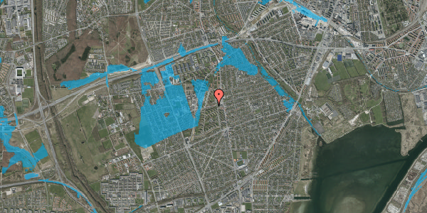 Oversvømmelsesrisiko fra vandløb på Bibliotekvej 13, 2650 Hvidovre