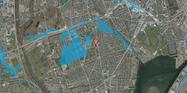 Oversvømmelsesrisiko fra vandløb på Bibliotekvej 14, 2650 Hvidovre