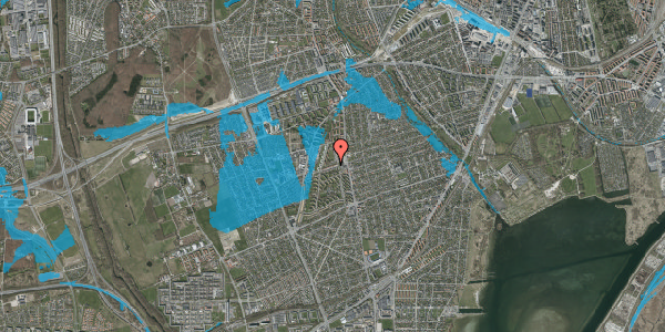 Oversvømmelsesrisiko fra vandløb på Bibliotekvej 16, 2650 Hvidovre