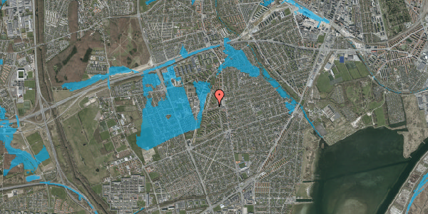 Oversvømmelsesrisiko fra vandløb på Bibliotekvej 20, 2650 Hvidovre