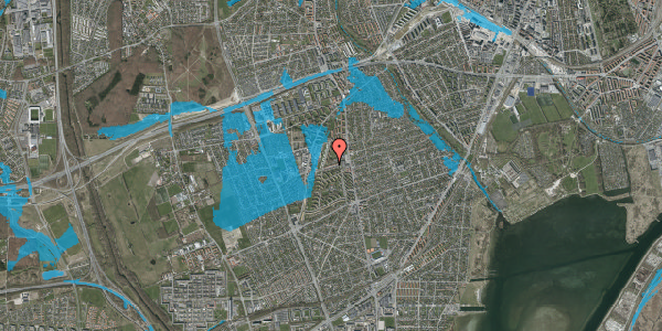 Oversvømmelsesrisiko fra vandløb på Bibliotekvej 26, 2650 Hvidovre