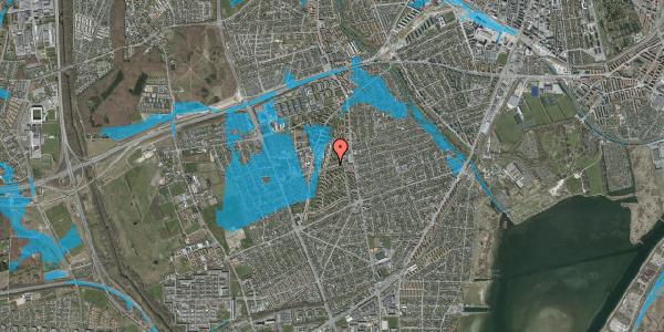 Oversvømmelsesrisiko fra vandløb på Bibliotekvej 32, 2650 Hvidovre