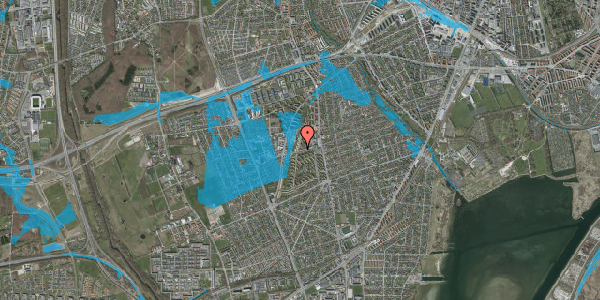 Oversvømmelsesrisiko fra vandløb på Bibliotekvej 40, 2650 Hvidovre