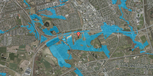 Oversvømmelsesrisiko fra vandløb på Kirkebakke Alle 12, 2625 Vallensbæk