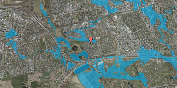 Oversvømmelsesrisiko fra vandløb på Løkketoften 36, 2625 Vallensbæk