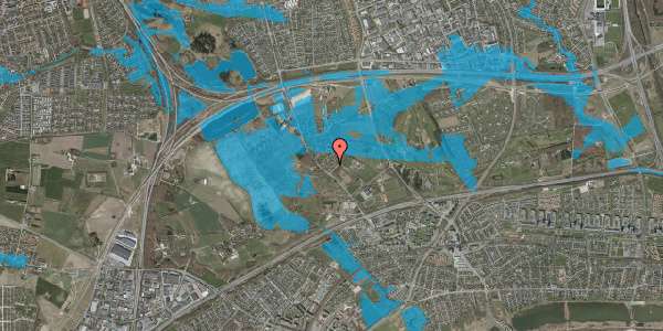 Oversvømmelsesrisiko fra vandløb på Møllestensvej 38, 2625 Vallensbæk