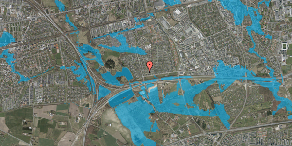 Oversvømmelsesrisiko fra vandløb på Pilehavevænge 56, 2625 Vallensbæk