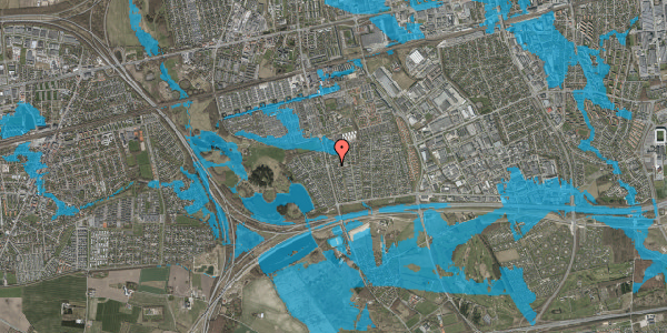 Oversvømmelsesrisiko fra vandløb på Pilehavevænge 124, 2625 Vallensbæk