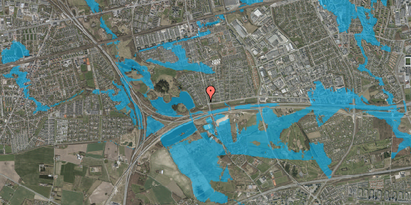Oversvømmelsesrisiko fra vandløb på Rendsagervej 10, 2625 Vallensbæk