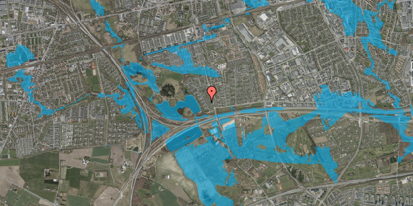 Oversvømmelsesrisiko fra vandløb på Rendsagervej 42, 2625 Vallensbæk