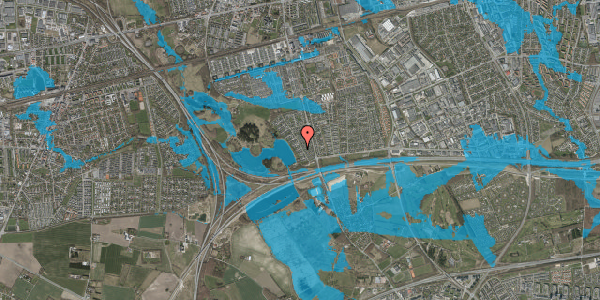 Oversvømmelsesrisiko fra vandløb på Rendsagervej 55, 2625 Vallensbæk