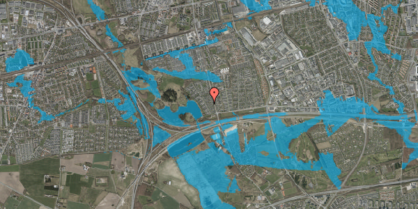 Oversvømmelsesrisiko fra vandløb på Rendsagervej 64, 2625 Vallensbæk