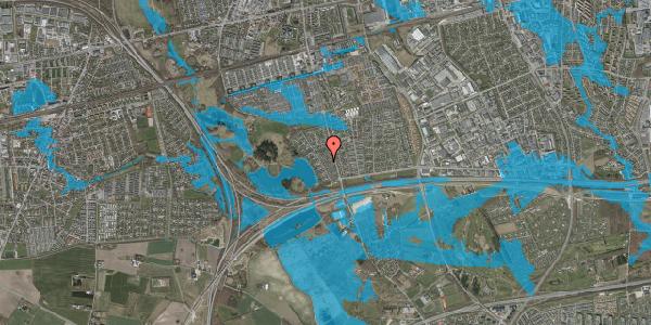Oversvømmelsesrisiko fra vandløb på Rendsagervej 74, 2625 Vallensbæk