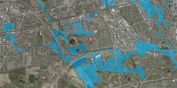 Oversvømmelsesrisiko fra vandløb på Rendsagervej 76, 2625 Vallensbæk
