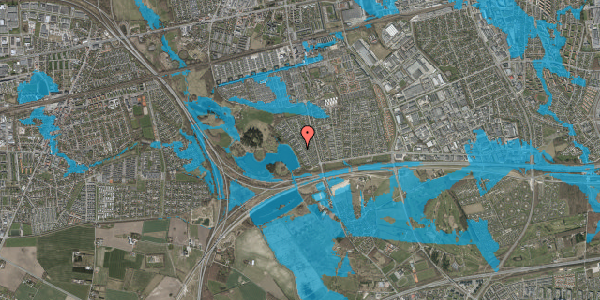 Oversvømmelsesrisiko fra vandløb på Rendsagervej 79, 2625 Vallensbæk