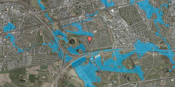 Oversvømmelsesrisiko fra vandløb på Rendsagervej 96, 2625 Vallensbæk