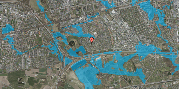 Oversvømmelsesrisiko fra vandløb på Rendsagervej 114, 2625 Vallensbæk