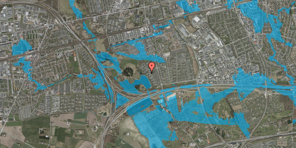 Oversvømmelsesrisiko fra vandløb på Rendsagervej 135, 2625 Vallensbæk