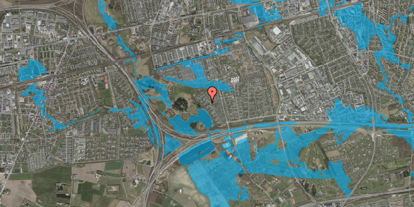 Oversvømmelsesrisiko fra vandløb på Rendsagervej 165, 2625 Vallensbæk