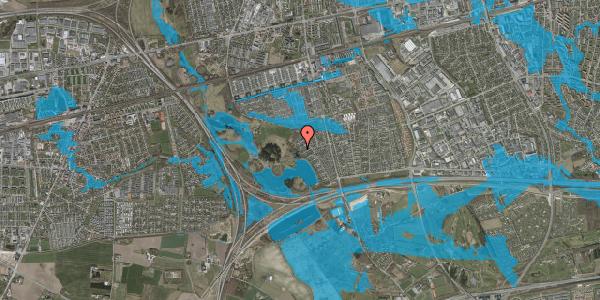 Oversvømmelsesrisiko fra vandløb på Rendsagervej 215, 2625 Vallensbæk