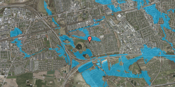 Oversvømmelsesrisiko fra vandløb på Rendsagervej 265, 2625 Vallensbæk
