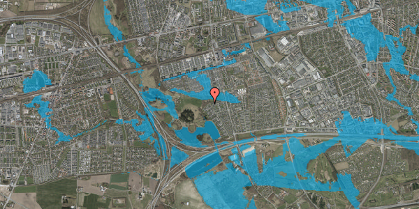 Oversvømmelsesrisiko fra vandløb på Rendsagervej 283, 2625 Vallensbæk