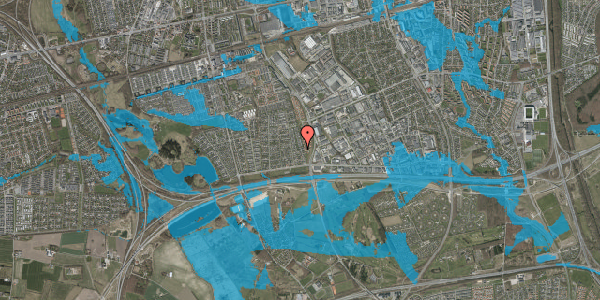 Oversvømmelsesrisiko fra vandløb på Syvhøjvænge 76, 2625 Vallensbæk