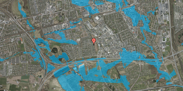 Oversvømmelsesrisiko fra vandløb på Syvhøjvænge 180, 2625 Vallensbæk