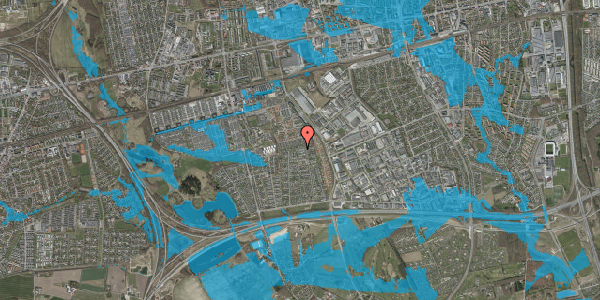 Oversvømmelsesrisiko fra vandløb på Syvhøjvænge 229, 2625 Vallensbæk