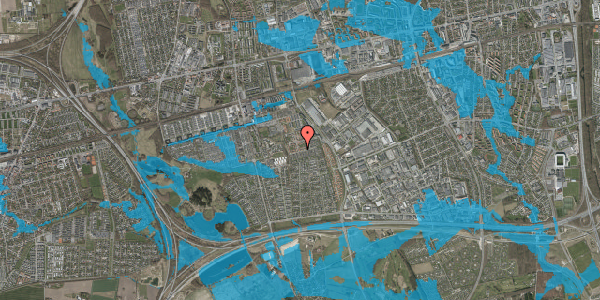 Oversvømmelsesrisiko fra vandløb på Valmuebakken 34, 2625 Vallensbæk