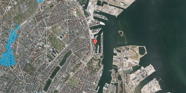 Oversvømmelsesrisiko fra vandløb på Amerika Plads 4, 4. 1, 2100 København Ø