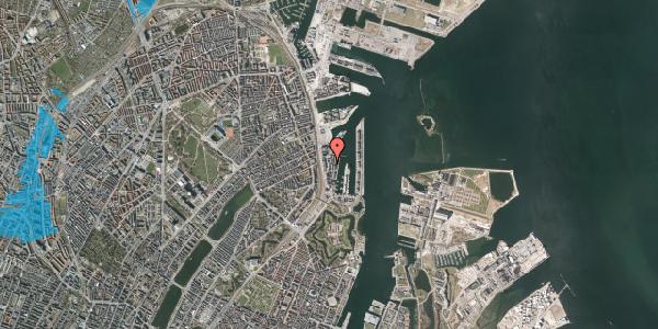 Oversvømmelsesrisiko fra vandløb på Amerika Plads 12, 1. 1, 2100 København Ø