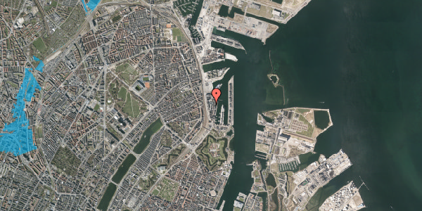 Oversvømmelsesrisiko fra vandløb på Amerika Plads 12, 5. 2, 2100 København Ø