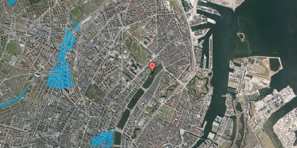 Oversvømmelsesrisiko fra vandløb på Helgesensgade 2A, 2100 København Ø