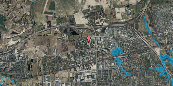 Oversvømmelsesrisiko fra vandløb på Gregersensvej 9G, 2630 Taastrup