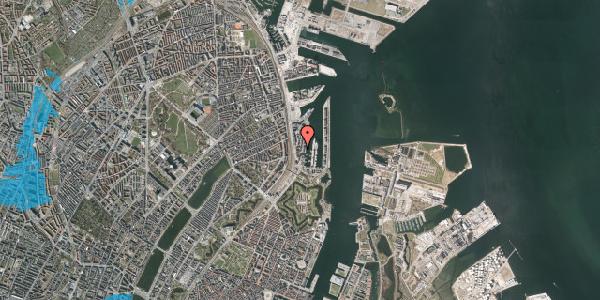 Oversvømmelsesrisiko fra vandløb på Amerika Plads 3C, 6. , 2100 København Ø