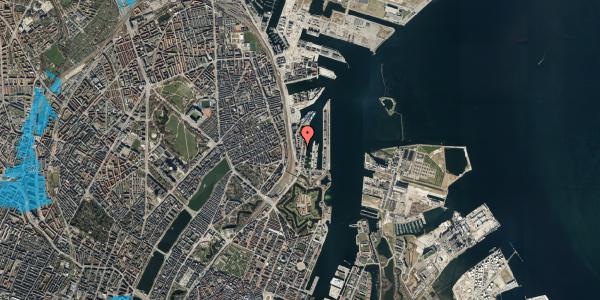 Oversvømmelsesrisiko fra vandløb på Amerika Plads 3A, kl. 6, 2100 København Ø