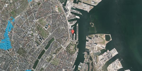 Oversvømmelsesrisiko fra vandløb på Amerika Plads 3B, 1. th, 2100 København Ø