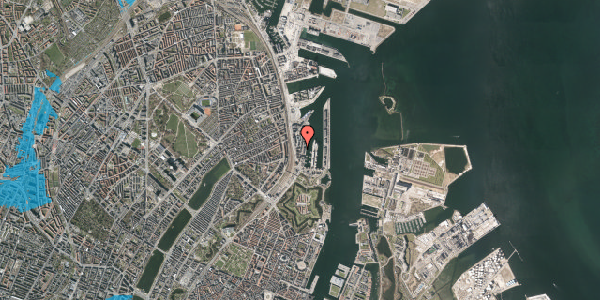 Oversvømmelsesrisiko fra vandløb på Amerika Plads 3B, 3. th, 2100 København Ø