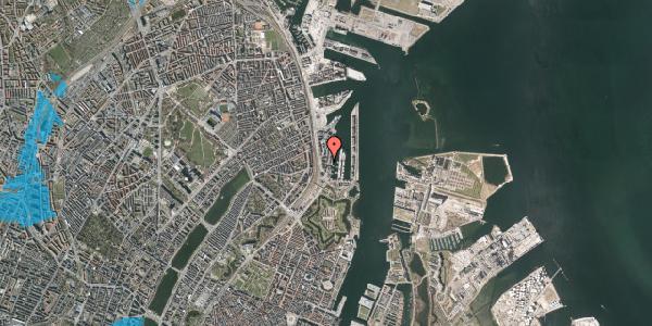 Oversvømmelsesrisiko fra vandløb på Amerika Plads 3D, 3. th, 2100 København Ø