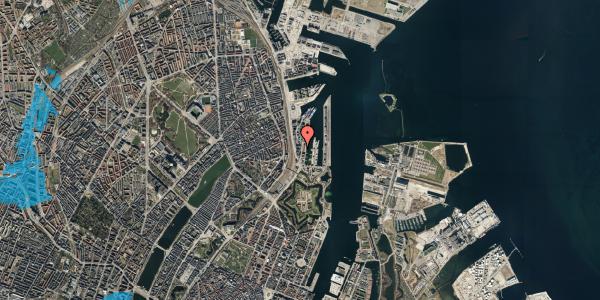 Oversvømmelsesrisiko fra vandløb på Amerika Plads 3D, kl. 54, 2100 København Ø