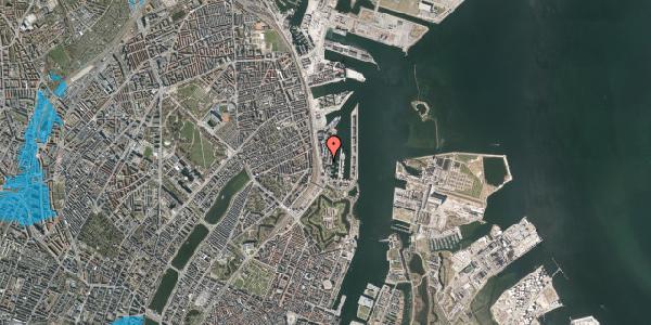 Oversvømmelsesrisiko fra vandløb på Amerika Plads 3D, kl. 51, 2100 København Ø