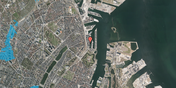 Oversvømmelsesrisiko fra vandløb på Amerika Plads 3D, 1. tv, 2100 København Ø