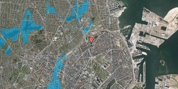 Oversvømmelsesrisiko fra vandløb på Æbeløgade 13, 1. 107, 2100 København Ø