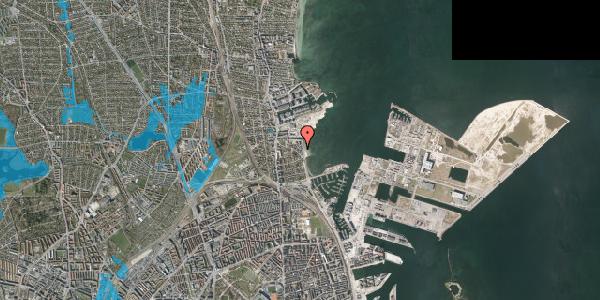 Oversvømmelsesrisiko fra vandløb på Strandpromenaden 55, 2100 København Ø
